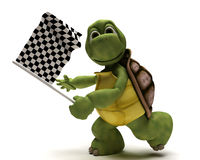 Tortoise with a chequered flag. 3D Render of a Tortoise with a chequered flag Stock Photos