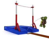Tortoise competing in pole vault Stock Image