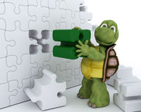 Tortoise con il puzzle di puzzle Fotografia Stock Libera da Diritti