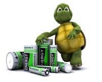 Tortoise con le batterie Immagine Stock