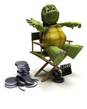 Tortoise in a directors chair. 3D render of a tortoise in a directors chair Royalty Free Stock Photos