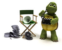 Tortoise with a directors chair Royalty Free Stock Photography
