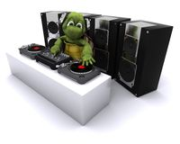 Tortoise DJ mixing records on turntables Royalty Free Stock Photo