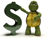 Tortoise with a dollar sign Stock Images