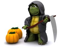 Tortoise dressed as the grim reaper for halloween. 3D Render of a tortoise dressed as the grim reaper for halloween Royalty Free Stock Photos