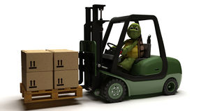 Tortoise driving a forklift truck Stock Photography