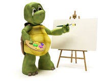 Tortoise with easel and paint palette Royalty Free Stock Photo