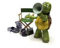 Tortoise film director. 3D render of a tortoise film director with a megaphone Royalty Free Stock Image