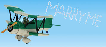 Tortoise flying a biplane sky writing Royalty Free Stock Images