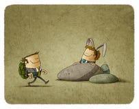 The Tortoise and The Hare vektor illustrationer