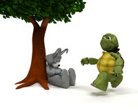 Tortoise and Hare race metaphor. 3D Render of a Tortoise and Hare race metaphor Royalty Free Stock Photo