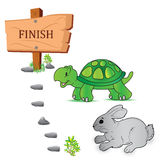 Tortoise, Hare, race, vector, illustration Royalty Free Stock Images