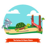 The Tortoise and the Hare racing together to win Stock Image