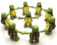 Tortoise leading a team Stock Image