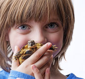 Tortoise. Little girl with her pet - tortoise royalty free stock photo