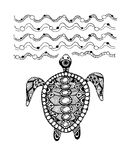 Tortoise ornate, zentangle for your design Stock Photos