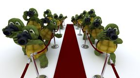 Tortoise Paparazzi at the red carpet. 3D render of Tortoise Paparazzi at the red carpet Royalty Free Stock Photography