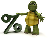 Tortoise with percentage symbol Royalty Free Stock Images