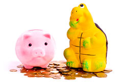 Tortoise and piggy banks Royalty Free Stock Images
