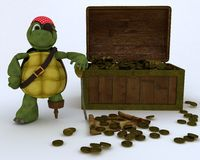 Tortoise pirate with a treasure chest Royalty Free Stock Image