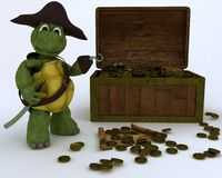 Tortoise pirate with a treasure chest Royalty Free Stock Photo