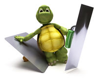 Tortoise with plastering tools Royalty Free Stock Image