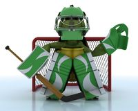 Tortoise playing ice hockey Royalty Free Stock Image