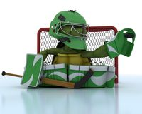 Tortoise playing ice hockey Stock Photos