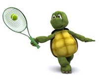 Tortoise playing tennis Royalty Free Stock Image