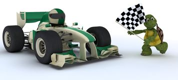 Tortoise in race car winning at che. 3D render of a Tortoise in race car winning at chequered flag Royalty Free Stock Photo