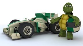 Tortoise with racing car Royalty Free Stock Images