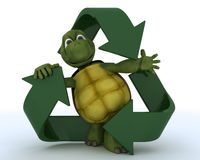 Tortoise with a recycle symbol Stock Photography