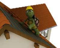 Tortoise roofing contractor Royalty Free Stock Photography