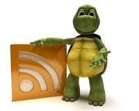 Tortoise with an rss symbol Royalty Free Stock Photography