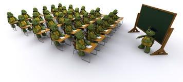 Tortoise sat at school desk Stock Photos