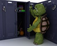 Tortoise with school locker Royalty Free Stock Photos