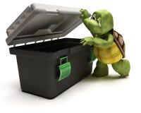 Tortoise with tool box Royalty Free Stock Photos