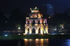 Tortoise Tower on Hoan Kiem lake, Hanoi Stock Image
