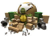 Tortoise with a trash and waste Royalty Free Stock Photos