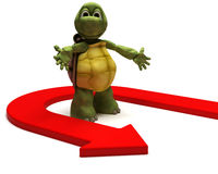 Tortoise with u turn arrow Royalty Free Stock Image