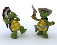 Tortoises as cowboy and indian Royalty Free Stock Photography