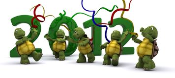 Tortoises Bringing the new year in. 3D render of a Tortoises Bringing the new year in Stock Image