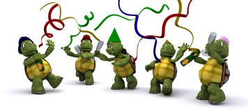 Tortoises celebrating at a party Royalty Free Stock Image