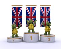 Tortoises on championship a podium Royalty Free Stock Photos