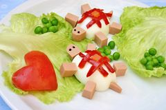 Tortoises - creative snack for kids Stock Photography