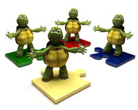 Tortoises on jigsaw pieces Stock Image