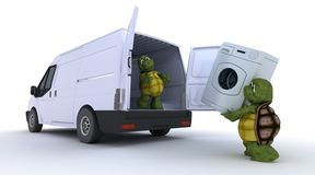 Tortoises loading a washing machine into a van. 3D render of a tortoises loading a washing machine into a van stock illustration
