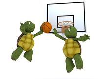 Tortoises playing basket ball. 3D render of a tortoises playing basket ball Royalty Free Stock Photos