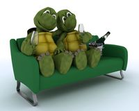 Tortoises on a sofa drinking champagne Stock Images