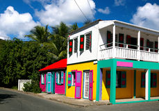 Tortola. Colorful pastel painted houses on Tortola,british virgin islands stock images